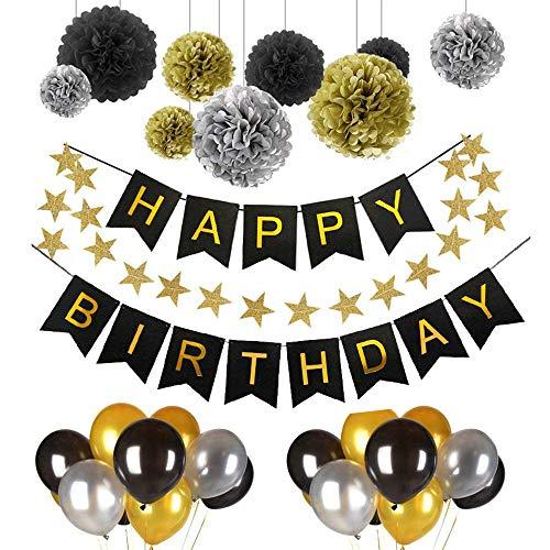 Schneespitze Cumpleaños Globos Decoración,Cumpleaños Estandarte,Negro Oro Blanco Globo de Látex,Decoraciones de Fiesta Globos de Cumpleaños