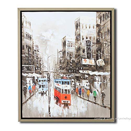 Olieverfschilderij op doek handgeschilderd, abstract stadsbeeld, grijs gebouwen, voetgangerzone van bus, grote moderne decoratieve kunstwerken voor huis woonkamer hal slaapkamer bibliotheek eetkamer muur 130 x 195 cm
