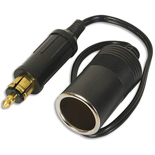 Carviya - Adaptador de enchufe europeo macho para encendedor de cigarrillos, 18 AWG, cable de 30,5 cm, 12 V, 24 V - 15 A