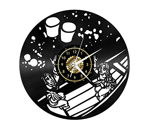 SKYTY Vinyl-Wanduhr Wish Kong Ming Laterne - Retro-Atmosphäre Silhouette Rekord handgemachtes Geschenk Cool Home Art Decor kein LED-Licht 12 Zoll