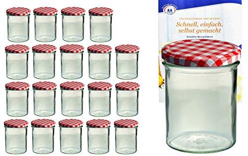 MamboCat 20x Einmach-Gläser mit Deckel 350 ml I robuste Einweckgläser m. rot-weiß kariertem Deckel I Marmeladen-Glas-Set to 82 - inkl. Diamant Gelierzauber Rezeptheft I Twist-Off Gläser 20 Stück
