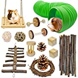 Anklate Store Hamster Chew Toys 14 Pcs Hamster Toys Wooden Hamster Accessories Guinea Pig Toys and Accessories for cage Syrian Hamster, Rat Toys Gerbil Toys Chinchilla Toys Hamster Tunnels and Tubes