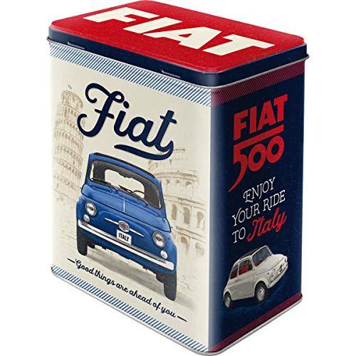 Nostalgic-Art Retro Vorratsdose L FIAT 500 – Good Things – Geschenk-Idee für Auto-Fans, Große Kaffee-Dose aus Blech, Vintage-Design, 3 l