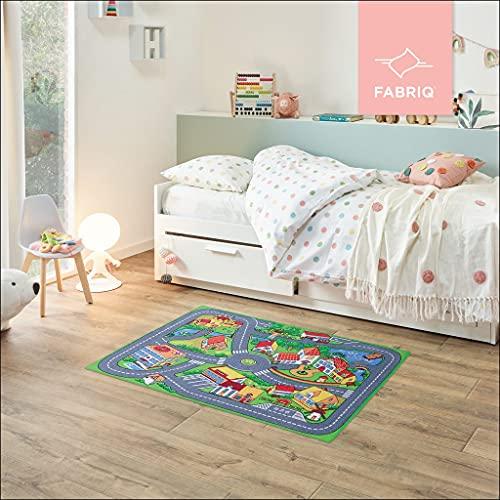 Fabriq Alfombra de juego para niños y niñas, antideslizante, para habitaciones infantiles y de juegos, lavable a 30 °C, 95 x 133 cm, Quiet Town