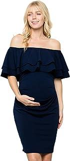 a4c068194 My Bump - Vestido de Maternidad de Doble Capa con Volantes y Hombros  Descubiertos para Baby