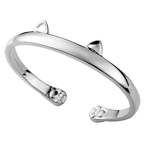 4dbe47b0d JEWME 925 Sterling Silver Women Kitty Cat Open Cuff Bracelet Jewelry Paw Ear