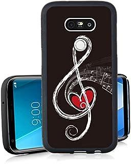 LG V30 Case, LG V30s Black Case, FTFCASE Case TPU Rubber Gel Design for LG V30, LG V30s,LG V30 Plus,LG V35,LG V35 ThinQ 2017 Release - Red Heart and Music Note