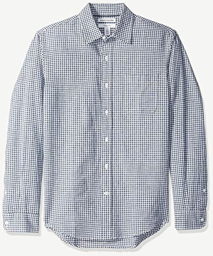 Amazon Essentials Herren-Leinenshirt, Langarm-Shirt, schmale Passform, gestreift, Navy Gingham, US XL (EU XL - XXL)