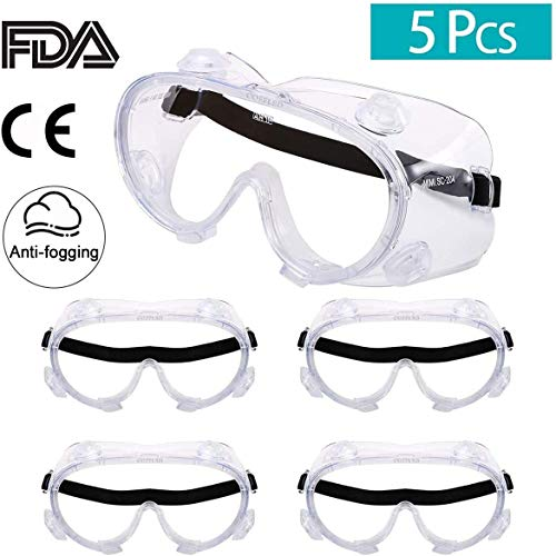 COFFLED 5pcs Anti Fog - Goggles Lab Safety - High Impact Resistance - Crystal Clear - Heavy Duty Industrial Strength Eye Goggles Protection - Safety Goggles For Chemical, Lab, And Workplace Safety
