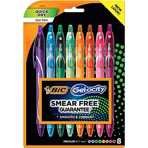BIC Gel-ocity Quick Dry Fashion Retractable Gel Pen, Medium Point (0.7mm), Assorted Colors, 8-Count