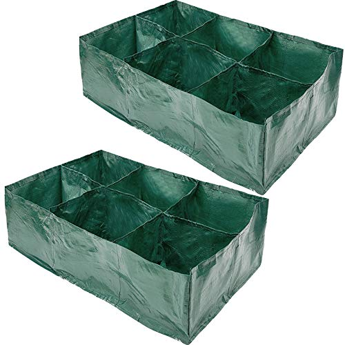 Sfcddtlg 2 PCS Raised Garden Planter Fabric Bed6 Divided Grids Durable Rectangle Planting Grow Pot for Garden Plant Vegetable Flower Herb Growing
