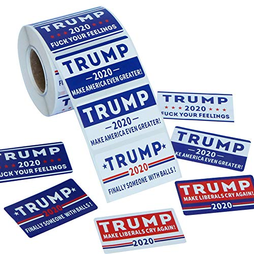 Six Senses Media 500Pcs Trump 2020 Stickers ,Patriotic Election Stickers for Supporting President ,Trump Stickers for Election Day Parade Celebrations ,8 Patterns-Blue,White