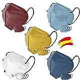 Mascarilla FFP2 Colores, 20 unidades, Fabricación 100% Española, Alta eficiencia 5 capas, talla única, Homologada CE 0161, EN 149: 2001+A1:2009 (Multi-Blister)
