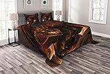 ABAKUHAUS Braun Tagesdecke Set, Drachen, Set mit Kissenbezügen Waschbar, für Doppelbetten 264 x 220 cm, Braun Gelb