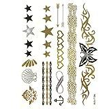 Wrapables Grande metálico Oro y Plata Tatuajes Temporales Pegatinas, Glamour, Large