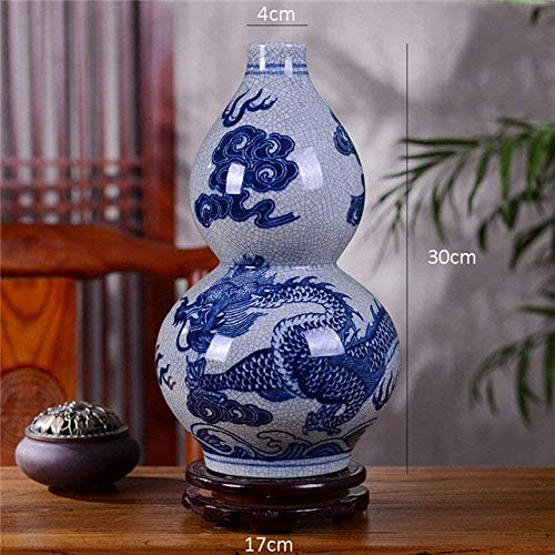 HZY Vasen Vase Dekoration Jingdezhen Keramik-Vase Crackle Glaze Blue Dragon Porzellanvase Geschenk, 6, Farbe: 7 (Color : 4)