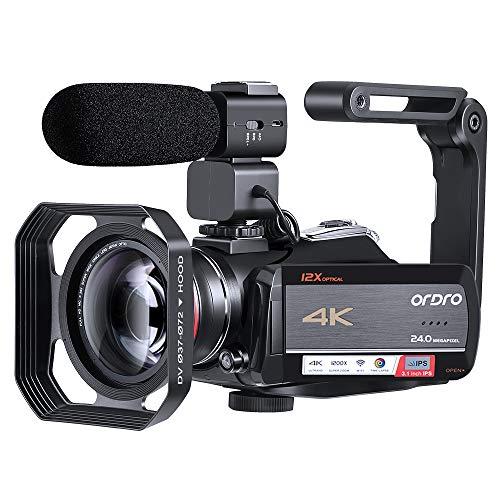 C/ámara de Video Digital HDR-AE8 C/ámara Digital 4K HD 16X 30 megap/íxeles con 270 Grados 3.0 Pulgadas Pantalla Soporte Disparo de visi/ón Nocturna por Infrarrojos. bater/ía