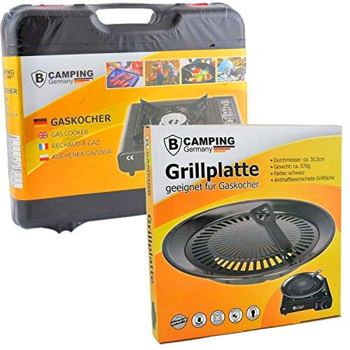 Gaskocher Campingkocher 2,5 KW mit 8 Gaskartuschen Portable + Grillplatte Grillaufsatz + Koffer + Flaschenöffner + Phönix Gasherdkreuz