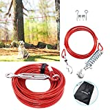 LUFFWELL Dog Tie Out Runner for Yard, Dog Trolley Cable System Aerial Dog Run Zip Line 100 ft with 10 ft Pully Chain for Dogs Up to 125 Lbs, Running Outside or Camping