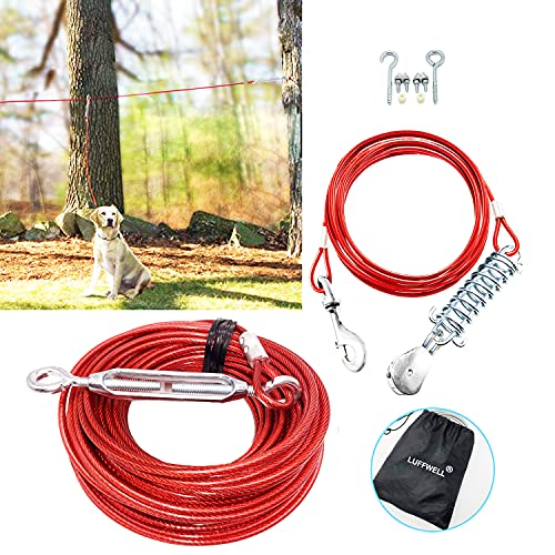Dog Tie Out Runner for Yard, Dog Trolley Cable System Aerial Dog Run Zip Line 100 ft with 10 ft Pully Chain for Dogs Up to 125 Lbs, Running Outside or Camping