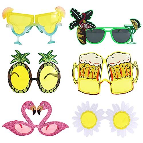 6 Paar Hawaiian Tropical Party Brille Set, Neuheit Party Sonnenbrille, Lustige Brillen für Foto-Requisiten, Beach Party Kostüm Dekoration, Tanzshows, Themenorientierte Partei Sommer Verkleiden