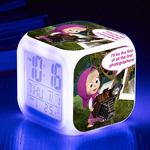 fdgdfgd Cute Cartoon Pet Doctor LED Despertador números de Dibujos Animados con termómetro Fecha Brillante Despertador