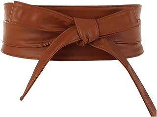 Women's PU Leather Self Tie Wrap Around Obi Waist Band Cinch Boho Belt