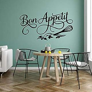 Bon Appetit Franse Citaten Logo Western Food Bloem Klop Muursticker Vinyl Art Decal Slaapkamer Woonkamer Eetkamer Keuken R...