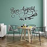 Bon Appetit French Quotes Logo Western Food Flower Whisk Etiqueta de la pared Vinilo Art Decal...