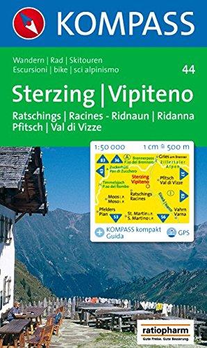 Sterzing, Vipiteno: Ratschings/Racines, Ridnaun/Ridanna, Pfitsch/Val di Vizze. Wander-, Bike- und Skitourenkarte. 1:50.000. GPS-genau