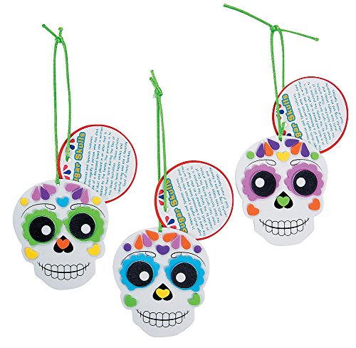 Foam Day of the Dead Sugar Skull Ornament Craft Kit-Makes 12