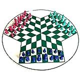 LXTIN Juego de ajedrez clásico Juego de ajedrez para 3 Jugadores, Juego de ajedrez Popular Juego de ajedrez de plástico de Cuero Verde Juego de ajedrez de Viaje Juego Internacional de ju