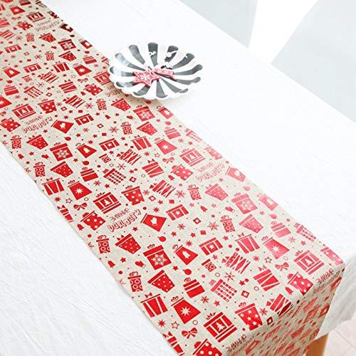 Feliz Navidad Copo De Nieve Muñeco De Nieve Camino De Mesa Largo Tela Fiesta Cena Camino De Mesa Antideslizante Algodón Lino Decoración Del Hogar 270CM,B