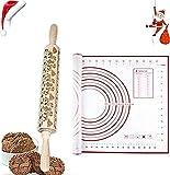 a ray of sunshine Mattarello Decorativo Natale,Mattarello in Legno Incisione Natale,Rolling Pin per Biscotti,Mattarello Inciso per Biscotti,Goffratura Mattarello,Natale Mattarello Legno