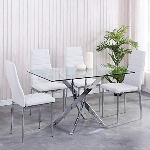 GOLDFAN Rechteckiger Esstisch mit 4 Stühlen Leder Moderner 113cm Esstisch Rechteck Glas Chrombeine Für Esszimmer Büro Wohnzimmer, Weiß