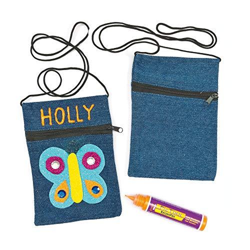 Baker Ross Jeans-Schultertaschen (4 Stück) Blanko-Schultertaschen mit Reißverschluss aus Jeansstoff für Kinder zum Dekorierien
