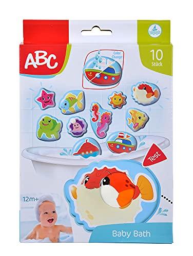 Simba 104010196 - ABC Magisches Badepuzzle, Badesticker, 10 Stück, 10cm, Haften am Badewannenrand, Badespaß, bunte Motive, Farbwechsel, Badewannenspielzeug, ab 12 Monaten
