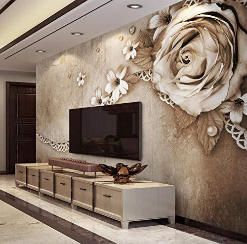 Decoración Para El Hogar Mural Wallpaper Vintage Rose Lace Simple Tv Fondo...