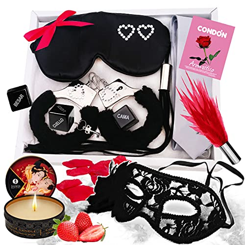 Inedit Festa Juego Kit erótico para Parejas traviesas Hot Lovers Juegos eróticos de Mesa para Sexo Kit Grey Aromático Shunga Vela de Masaje Strawberry Fresa