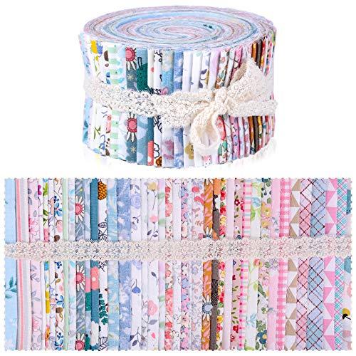 Wamkon 40 Farben Jelly Rolls, 6,25x 100 cm Cotton Craft Jelly Roll Up, Blumen Jelly Rolls Stoffstreifen Baumwolle Jelly Rolls Patchwork Stoffe für Quilten, Patchwork, Nähen, Handwerk