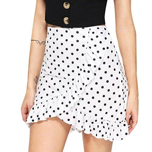 Jupe Femmes Toamen Jupe irrégulière Impression d'onde Jupe plissée Filles Mode (S, Blanc)