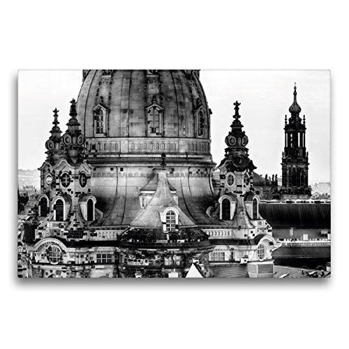 CALVENDO Premium Textil-Leinwand 75 x 50 cm Quer-Format Dresden Faszination Schwarz Weiss Frauenkirche, Leinwanddruck von Dirk Meutzner