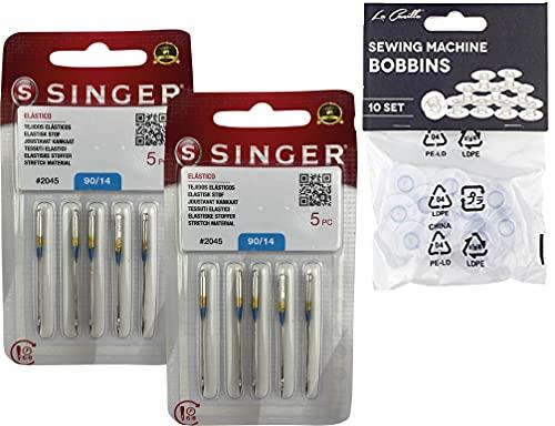 Pack de 10 Agujas para Máquinas de Coser Singer 2045 Grosor 90/14 para Tejidos Jersey (SUK) Elásticos y de Punto (Stretch) 130/705 H-S (Talón Plano de un Lado) Universales + 10 Canillas Transparentes