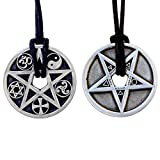 2 sided Protection Elemental Disk Paganism Pentagram Star 5 Elements Disc Earth Air Spirit Water Fire and coexist religion Pewter Coin Pendant Medallion Amulet Charm (Black Adjustable Cord)