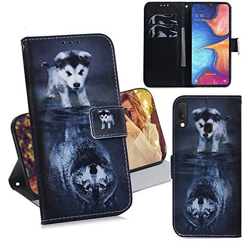 DodoBuy Samsung Galaxy A20e Hülle Flip PU Leder Schutzhülle Handy Tasche Hülle Cover Wallet Standfunktion mit Kartenfächer Magnetverschluss für Samsung Galaxy A20e - H& Wolf