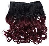 WIG ME UP - CMT-863-1BTT118 clip-in extension de cheveux arrière de la tête large 5 clips bouclé boucles dégradé noir rouge grenat 40 cm