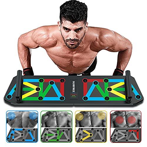 surfree Unisex Push Up Brett Liegestütze Brett, Upgrade 13 in 1 Push Up Board für Heimfitness-Trainingsgeräte Faltbare Liegestützgriffe Muscleboard für Männer/Frauen Heimtraining (Colorful 02)