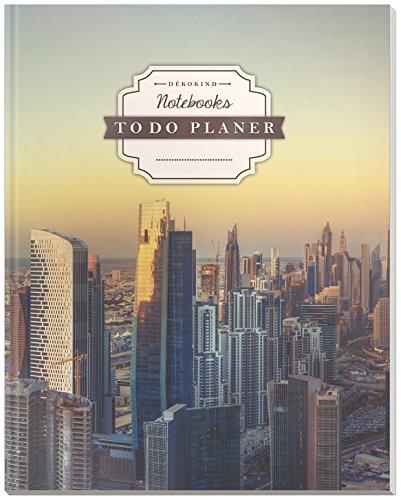 DÉKOKIND To Do Planer: DIN A4, 100+ Seiten, Register, Vintage Softcover   Dickes Checklisten Buch   Motiv: Metropole
