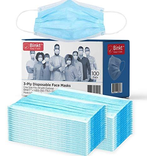 BINKT 100-Pack Disposable Face Masks | 3-Ply Protection Adult Disposable Safety Mask for Dust, Air Pollution, Pollen | Breathable & Non-Woven with 3 layers
