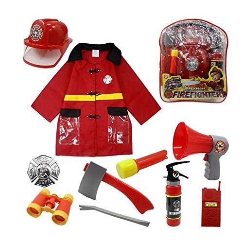 Brandweerlieden kostuum brandweerman bekleding set, 10 stuks brandweercommandant rollenspel kostuum verkleden speelgoed voor kinderen, jongens, meisjes